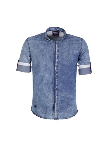 Cosplay Denim Kot Yıkamalı Katlamalı Kollu Slim Fit Gömlek Mavi